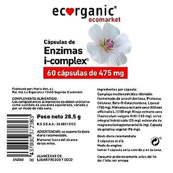 ECORGANIC Capsulas Enzimas 475Mg 60U I-Complex Eco: Amazon ...