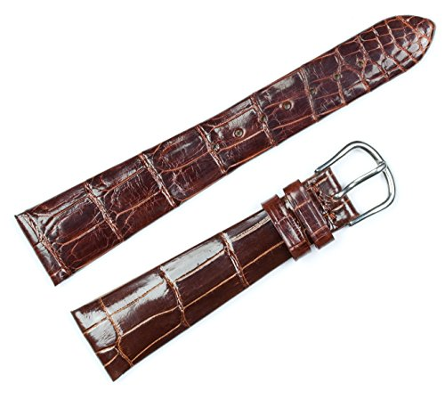 Genuine Alligator Watch Band - Brown 18mm - Shiny Finish - fits Patek Philippe - by deBeer