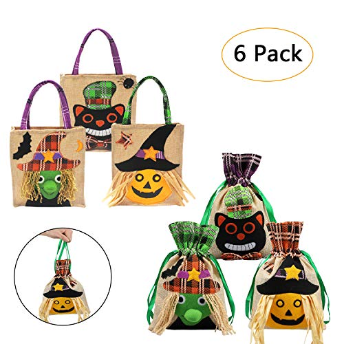 Halloween Candy Bags, Aitey 6 Pack Trick or Treat Bags for Kids, 3 Pack Halloween Drawstring Bags, 3 Pack Halloween Tote Bags Party Gifts Halloween Decorations