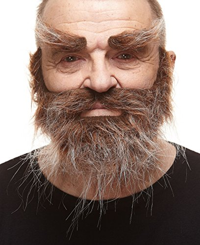 Mustaches Self Adhesive, Novelty, Realistic, Traper Fake Beard Fake Mustache and Fake Eyebrows, Brown with Gray Color -