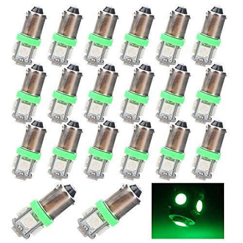 EverBrightt 20-Pack Green BA9S 5050 5SMD Led Car Door Lamp Side Maker Light Bulbs DC 12V