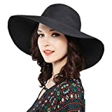ZZCC Beach summer wide foldable sun hat for women Black