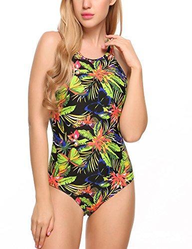 Ekouaer Tie Dye Swimwear One Piece Floral Swimsuit Sexy Bathing Suit for Women,Green,Medium