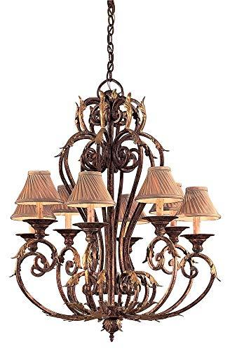 - Metropolitan N6238-355, Zaragoza Candle 1 Tier Chandelier Lighting, 8 Light, 480 Total Watts, Bronze