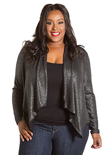 Sealed with a Kiss Designs Plus Size Tops - Lurex Cardigan 2X Black