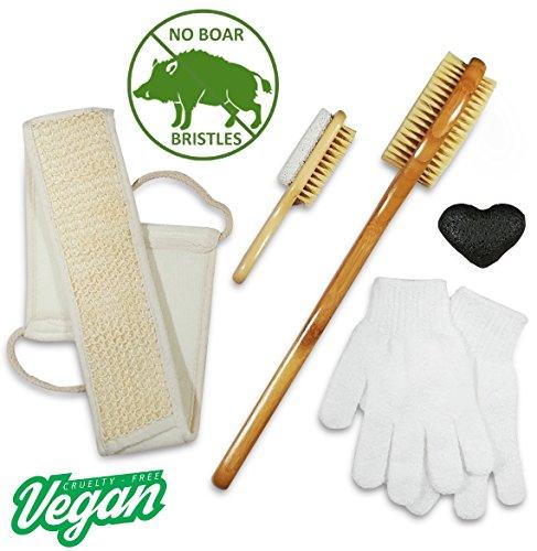 Dry Brush & Skin Exfoliating Set - VEGAN. NO Boar Bristles - Natural 5 in 1 kit - Body Brush, Foot Brush & Pumice Stone, Loofah Back Scrubber, Face Konjac Sponge, Bath Gloves. Reduce Cellulite