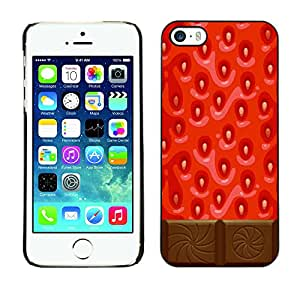 rígido protector delgado Shell Prima Delgada Casa Carcasa Funda Case Bandera Cover Armor para Apple Iphone 5 / 5S /Chocolate Red Sweet Food/ STRONG