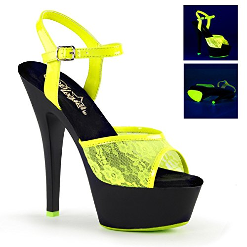 "Pleaser 1 3/4"" PF Ankle Strap Sandal, UV Reactive, Neon Yellow/Blk Matte, Size - 7 from Pleaser"