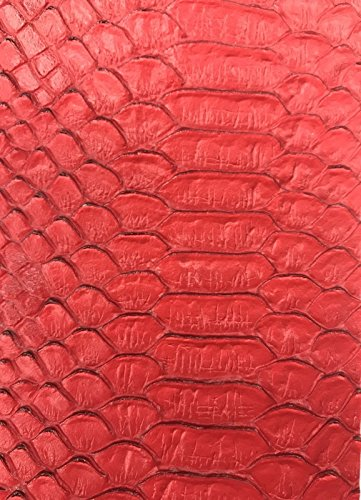 (Vinyl Fabric - Red Faux Viper Snake Skin Vinyl - Faux Leather - 3D Scales Upholstery - sold By The)
