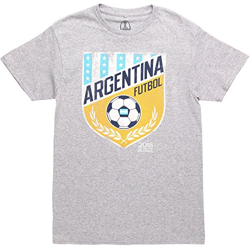 Argentina Soccer Shirt - FIFA Men's Russia 2018 Country Crest Tees, Grey Vamos Argentina, Medium