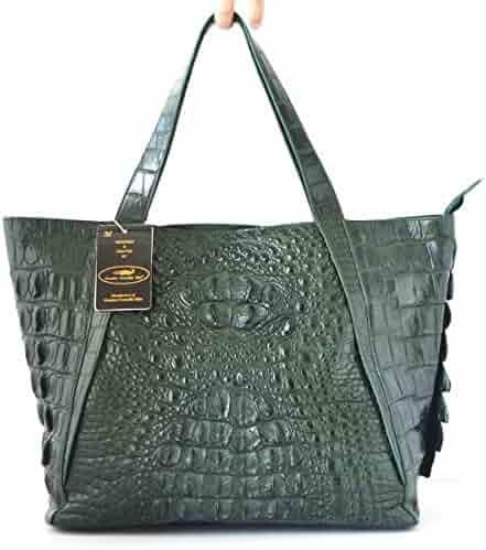 Authentic M Crocodile Skin Womens Hornback Leather Bag Tote Hobo Huge  W Wallet Handbag 8a6497f21ec23