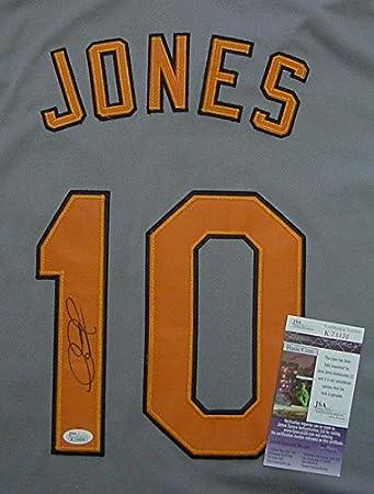8d6018526f1 Adam Jones Baltimore Orioles Autographed Grey  10 Jersey JSA COA at ...