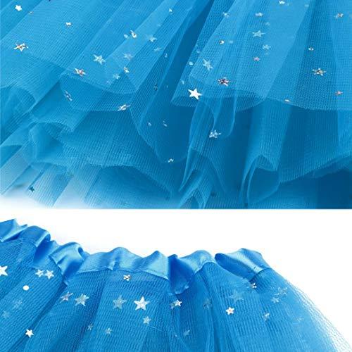 Qualit Ballet Plisse Plisse Haute en Femme de Sixcup Gaze Tutu de Ciel Courte Tutu Bleu de Jupe Tulle Danse Adulte dwqxxOWF0v