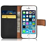 iPhone 5 Case - Retro Leather Wallet Flip Cover for the iPhone 5 / 5s / SE, Black