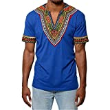 Gtealife Men's African Print Dashiki T-Shirt Tops Blouse (1-Blue, M)