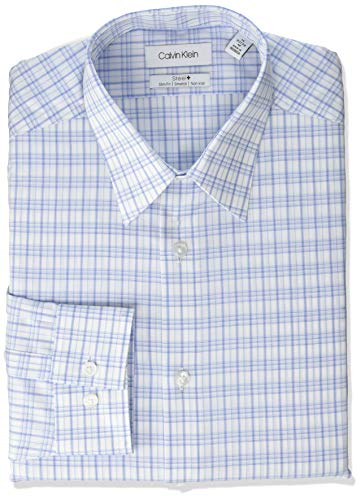 Calvin Klein Men's Dress Shirts Non Iron Slim Fit Stretch Check, Bright Blue, 17