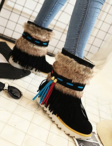 Slip Unique Ankle Platform Snow High Round Fringe Warm Aisun Tops Black On Flats Women's Shoes Boots Toe xfqnHYEwR