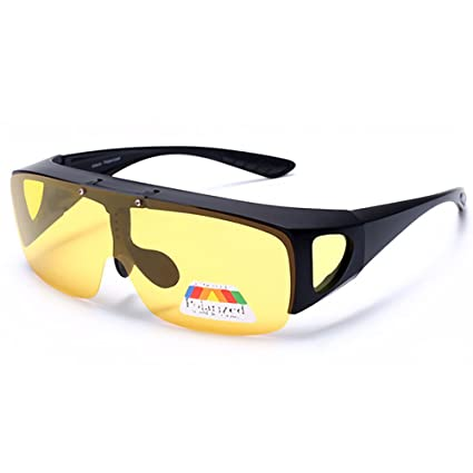 d089252c8dd41 Fit Over Wrap Around Glasses Goggles Polarized Night Tug Above Night Vision  Driving Sunglasses Eyewear Yellow Lens - - Amazon.com