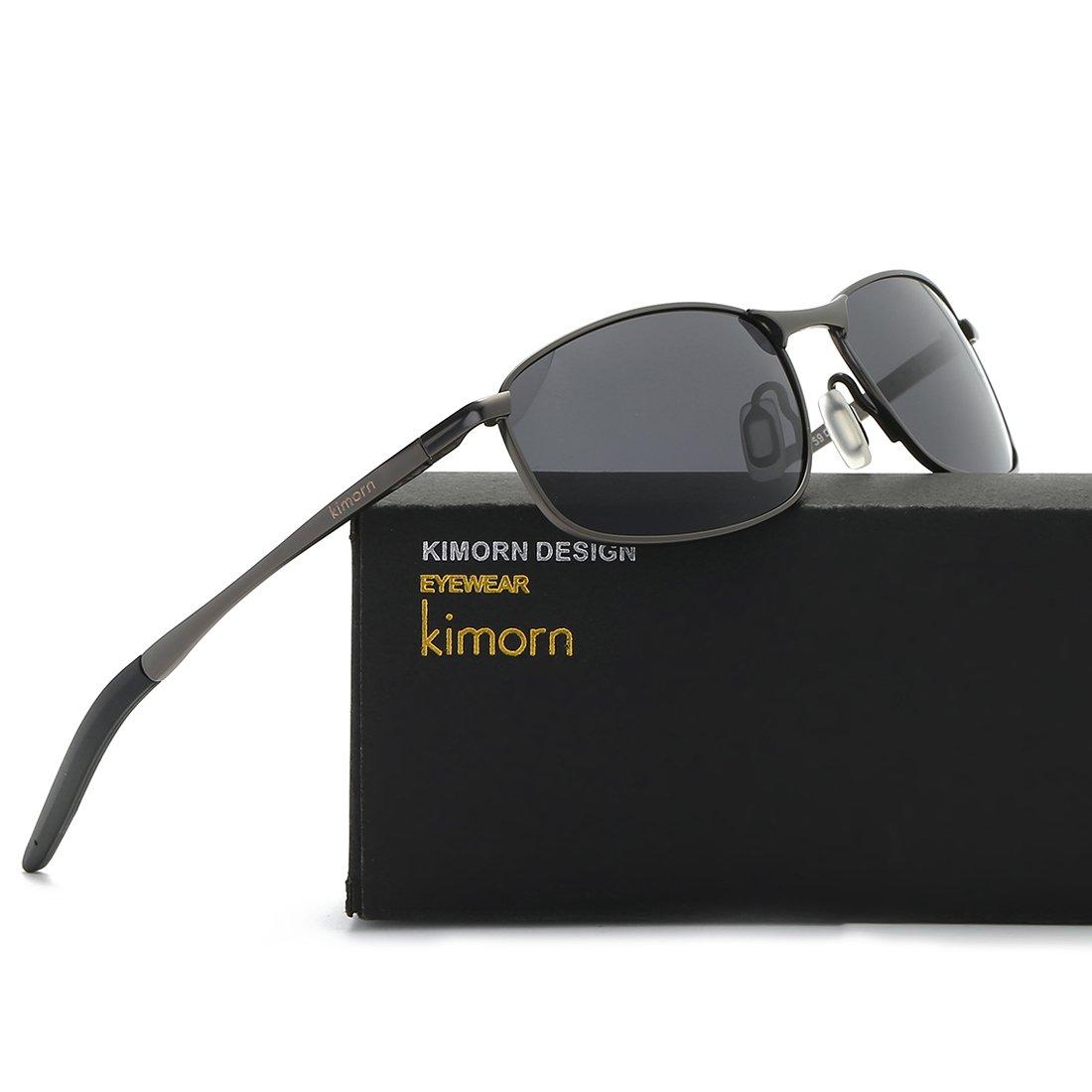 kimorn Polarizado Gafas de sol Hombre Retro Rectangulares metal Marco K0535 (Gris&Negro): Amazon.es: Ropa y accesorios