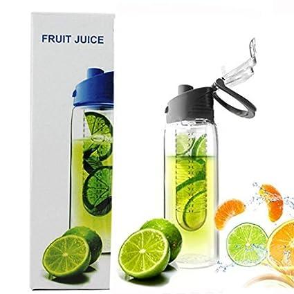 Blau Nikgic 800ML Frucht Infusing Wasserflasche Zitronensaft Make mit Frucht Infuser und Flip Deckel Flasche BPA frei