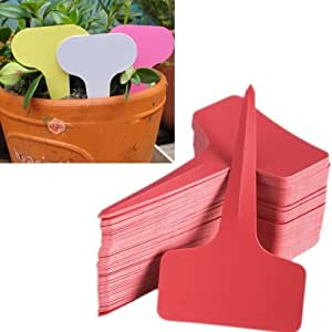 Eforcase 100/200/300/500 Pcs 6x10cm Plastic Plant T-Type Tags Markers Nursery Garden Labels (Red, 500 Pcs)