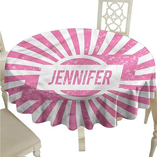 ScottDecor Fabric Tablecloth Jennifer,American Girls Name Dinning Tabletop Decoration Round Tablecloth D -