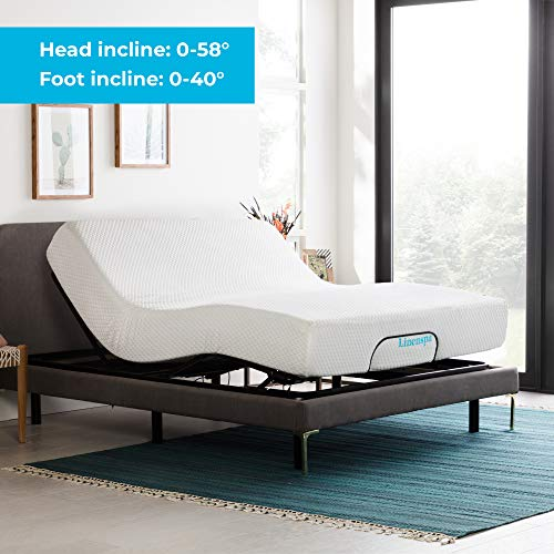 LINENSPA Adjustable Bed Base - Motorized Head and Foot Incline - Quick and Easy Assembly -Queen