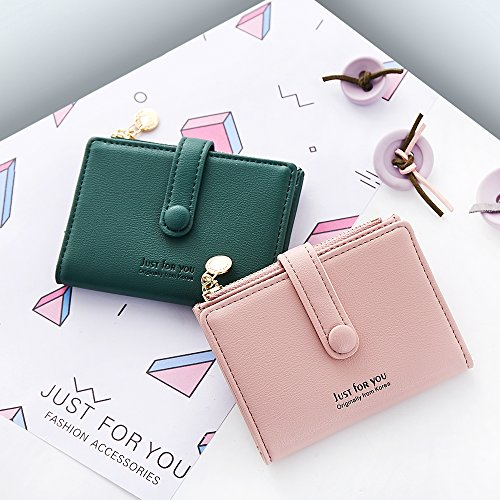 Womens Leather Coin Purse Credit Card Wallet Card Holder with ID Window Small Size(Green) by KESONA (Image #1)