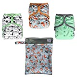 EcoAble Baby Day & Night All-In-One AIO Cloth Diapers, Size 10-35Lb, 3-Pack Bundle (Unisex)