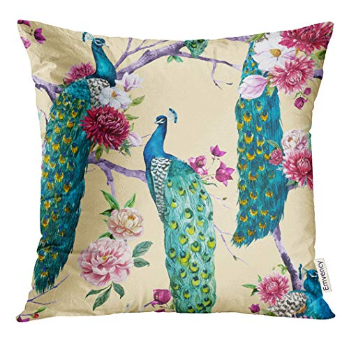UPOOS Throw Pillow Cover Floral Watercolor Peacock Sitting on Tree with Pink Flower Chrysanthemum Bougainvillea White Magnolia Red Decorative Pillow Case Home Decor Square 20x20 Inches Pillowcase