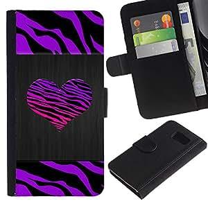 Paccase / Billetera de Cuero Caso del tirón Titular de la tarjeta Carcasa Funda para - Stripes Heart Brushed Metal Purple - Samsung Galaxy S6 SM-G920