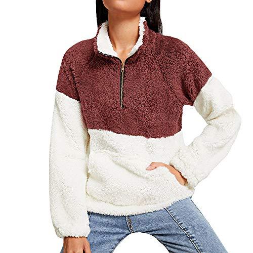 XOWRTE Women's Sweatshirt Plush Oversize Fluffy Fleece Fall Winter Hoodie Pullover Tops