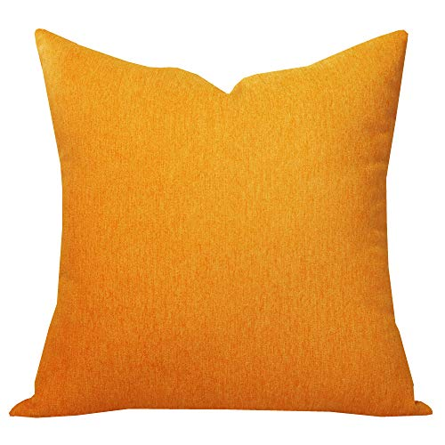 SLOW COW Velvet Throw Pillow Cover Solid Pillowcase Decorative Cushion Cover for Couch Sofa 18 x 18 Inches Orange (Bed Single Throws)