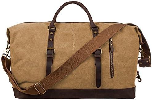 S-ZONE Oversized Canvas Leather Trim Duffel shoulder handbag Weekend Bag  (Khaki)  Amazon.ca  Luggage   Bags 7a2ee6169721c