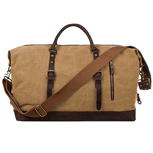 (S-ZONE Oversized Canvas Genuine Leather Trim Travel Tote Duffel Shoulder Weekend Bag Weekender Overnight Carryon Hand)