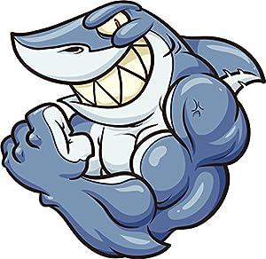Amazon Com Buff Muscular Macho Shark Cartoon Vinyl Decal