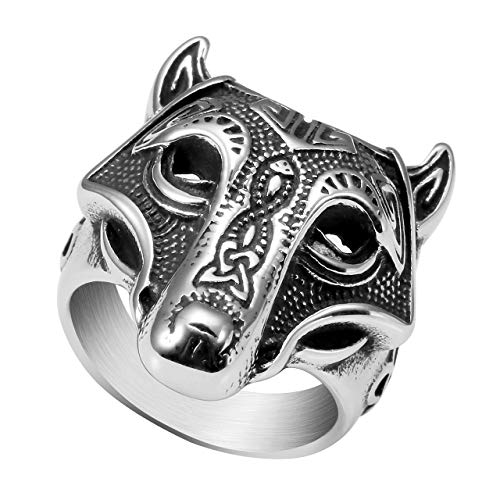 PiercingJ Stainless Steel Norse Viking Nordic Wolf Head Amulet Triquetra Trinity Celtic Knot Band Ring Animal Thor Hammer Man Signet Ring Jewelry Size 9-13