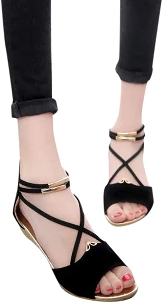 URIBAKY Femme Solide Daim biseau Bouche de Poisson lani/ère crois/ée Sandales Chaussures Romaines
