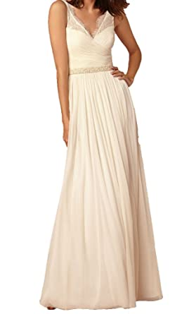 Firose Long Chiffon Bridesmaid dress Lace See-through Prom Dress Ivory US 2