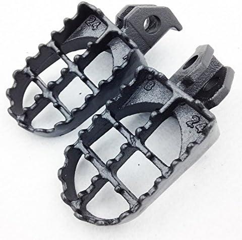 HK Motorcycle Gunmetal Black Motocross MX Steel Foot Pegs For Suzuki RM RM85 RM85L DR-Z125L DR-Z125