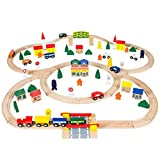 Best Choice Products 100pc Hand Crafted Wooden Train Set Triple Loop Railway Wood Track Kids Toy Play Set by Best Choice Products