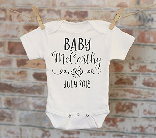 Design Personalized Announcement - Simple Hearts Pregnancy Reveal Onesie®, Reveal to Husband, Pregnancy Announcement, Customized Onesie, Coming Soon Onesie
