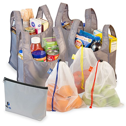 Premium Reusable Grocery Bags by Busy Life - All the Bags You Need for a Complete Shopping Trip, Durable and Machine Washable, Bring Groceries Home the Eco-Friendly Way