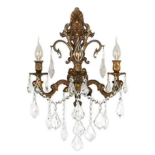 (Worldwide Lighting Versailles Collection 3 Light French Gold Finish Crystal Wall Sconce 17