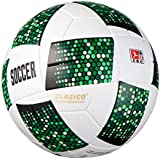 CLASICO Training & Recreation Soccer Ball PU Traditional Composite Material Free Carrying Net Bag &Needle Inflatable White/Green Official Size 5 for Ages 12+