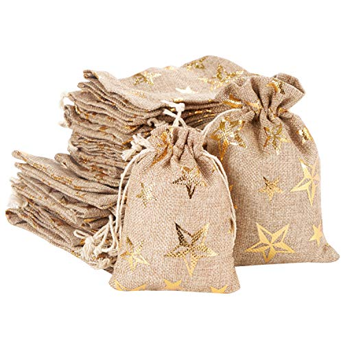 30pcs Burlap Bags with Drawstring, Jute Gift Bag Jewelry Pouches Sachet Candy Bag for Wedding Party Birthday Baby Shower Christmas DIY Craft Art Project Favors (Gold Star)