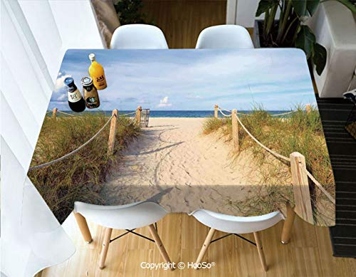 HooSo Premium Polyester Table Cover, Machine Washable, Durable Table Cloths for Wedding Reception Restaurant Banquet Party,Beach,Golden Sandy Beach South Miami with Fences,60