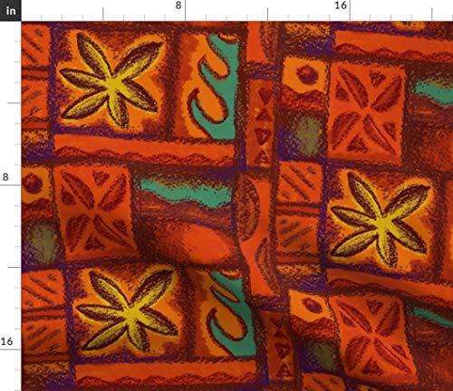 (Spoonflower Hawaiian Tiki tapa Fabric - Vintage Mid Century Hawaiian Mid Century Floral Beach Tiki Retro Hawaiian by Woodyworld Printed on Petal Signature Cotton Fabric by The Yard)