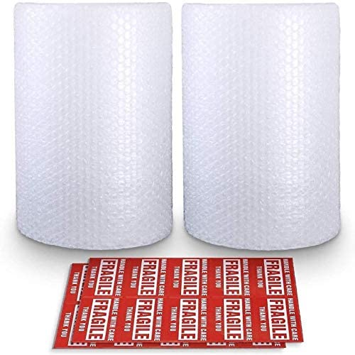 "2-Pack Bubble Cushioning Wrap Rolls, 3/16"" Air Bubble, 12 Inch x 72 Feet Total, Perforated Every 12"", 20 Fragile Stickers Included"