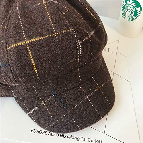 Style Cap Coffee ACVIP Winter Flat Newsboy Check Woollen Fabric Pattern Women's WzxOTq1w0